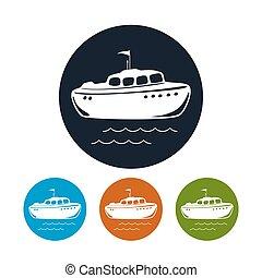 icône, vecteur, bateau, illustration