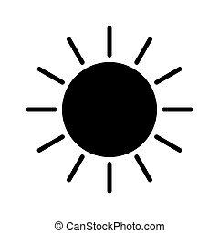 icône, vecteur, blanc, simple, soleil, arrière-plan.
