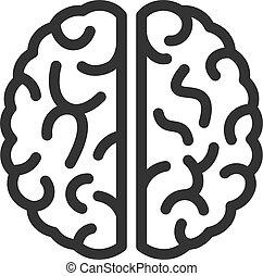 icône, vecteur, cerveau