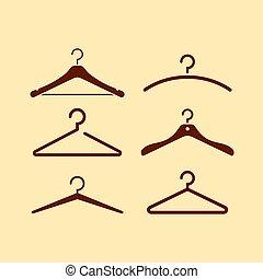 icône, vecteur, cintre, ensemble, manteau