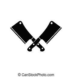 icône, -, vecteur, couperet, viande, couteau
