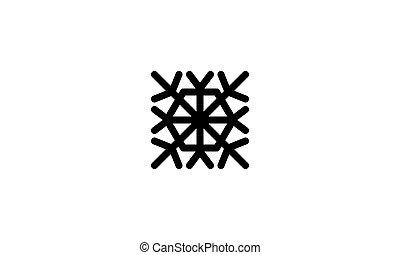 icône, vecteur, hiver, gabarit, flocon de neige