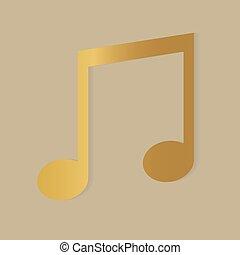 icône, -, vecteur, illustration, musique, doré, note