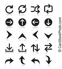 icône, vecteur, isolé, flèche, ensembles