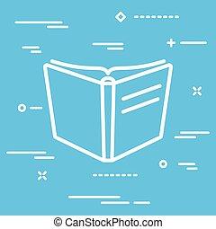 icône, vecteur, livre ouvert, fond, bleu