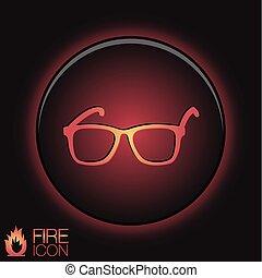 icône, vecteur, lunettes, lunettes, signe