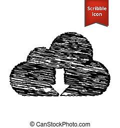 icône, vecteur, nuage, illustration