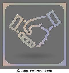 icône, vecteur, poignée main