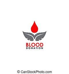 icône, vecteur, sanguine, logo, conception, gabarit