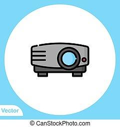 icône, vecteur, signe, symbole, projecteur