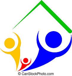 icône, vecteur, toit, famille, sous
