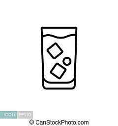 icône, vecteur, verre, eau glace