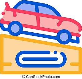 icône, vecteur, voiture, illustration, piédestal, contour