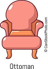 icône, vendange, style, dessin animé, fauteuil