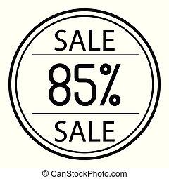 icône, ventes, à, cent, sur, a, blanc, arrière-plan., 85