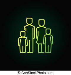 icône, vert, deux, famille, enfants