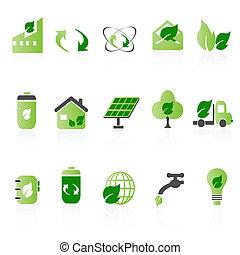 icône, vert, ensembles
