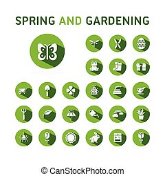 icône, vert, illustration, printemps, vecteur, ensemble, circle., gardening.
