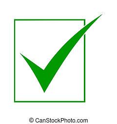 icône, vert, marque contrôle