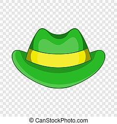 icône, vert, style, chapeau, dessin animé