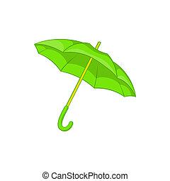 icône, vert, style, parapluie, dessin animé