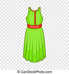icône, vert, style, robe, dessin animé