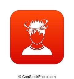 icône, vertige, homme, rouges, numérique