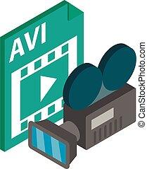 icône, vidéo, style, isométrique, fichier