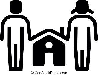 icône, vie, vecteur, famille