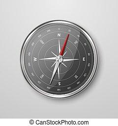 icône, vieux, blanc, cadran, réaliste, concept, vecteur, noir, isolé, template., métal, antiquité, windrose, closeup, chrome, vendange, argent, acier, voyage, compas, conception, arrière-plan., navigation