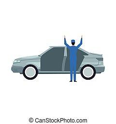 icône, voiture, debout, mécanicien