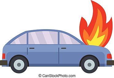 icône, voiture, style, brûlé, plat