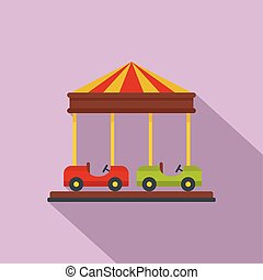 icône, voiture, style, carrousel, plat