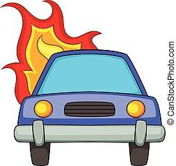 icône, voiture, style, dessin animé, brûlé