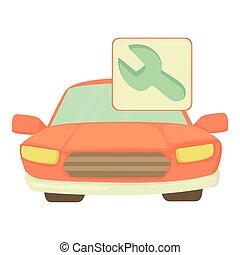 icône, voiture, style, dessin animé, réparations