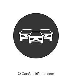 icône, voitures, blanc, style, gris, plat, vecteur