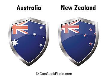 icône, zélande, drapeau, australie, nouveau
