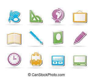 icônes, école, education