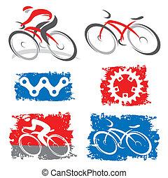 icônes, éléments, cyclistes, cyclisme