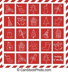 icônes, éléments, griffonnage, joyeux noël, boîte, rouges