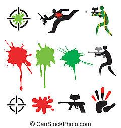 icônes, éléments, paintball, conception