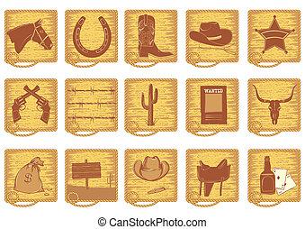 icônes, éléments, silhouettes, brun, life., vecteur, cow-boy, blanc