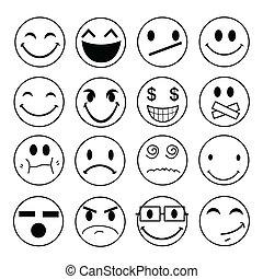 icônes, émotif, figure, vecteur