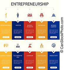 icônes, équipe, ui, entrepreneurship, infographic, option,...