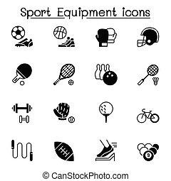icônes, équipement, ensemble, sport