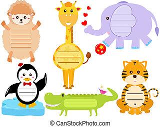icônes, étiquette, animal, /, étiquette