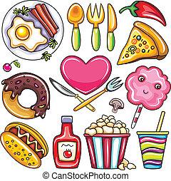 icônes, 1, nourriture