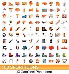 icônes, 100, sport, dessin animé, ensemble, style