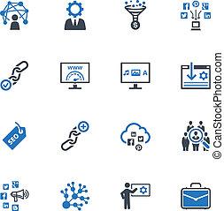 icônes, 2, internet, seo, &, commercialisation