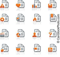 icônes, -2, /, série, graphite, documents